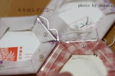 ペーパーライナー 花縫い方