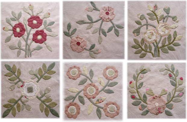 バラのアップリケパターン