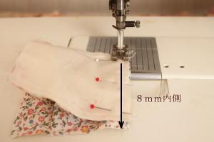 パッチワークパフミシン縫い