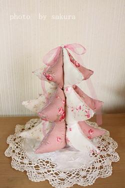 布クリスマスツリーピンク作り方